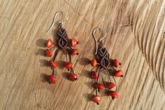 handmade macrame earrings with natural color rain forest seeds and 925 silver hook