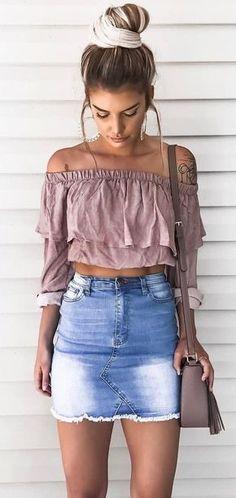 Emerie Tiered Off Shoulder Top + Bleached Denim Skirt #summer #outfits #denimskirtoutifsummer