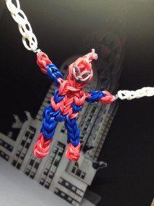 Rainbow Loom spiderman in action, plus link to tutorial to make rainbow loom superheroes