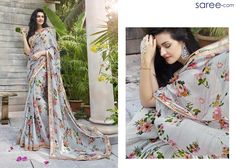 Subtle Glam! The understated glamour of greys is hard to beat – especially when it comes to life in a saree so pretty that your eyes will never tire of looking at. Crafted in grey fabric base with raw charm, speckled with a spring-time-fresh flowers and leaves design, adorned with dreamy 3D floral decorations and accentuated with a fairy pink and dull gold border – this saree is sure to brighten any work day or after-work party.