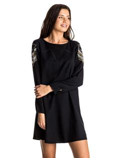roxy, To The Sea - Long Sleeve Dress, ANTHRACITE (kvj0)