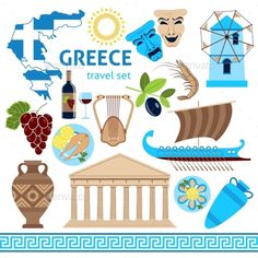 Greece Symbols Touristic Set Flat Composition by macrovector Travel agency greece cultural tours poster with national historical symbols flag and country map flat vector illustration. Popular Honeymoon Destinations, Greece Destinations, Greece With Kids, Greece Culture, Mein Land, Country Maps, Tour Posters, Greek Gods, Greece Travel