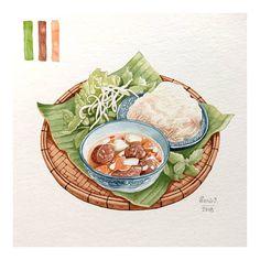 Bún Chả Hà Nội version 2018 🌜Grilled pork with rice noodles Food Art Painting, Bun Cha, Food Sketch, Viet Food, Food Cartoon, Watercolor Food, Food Icons, Vietnamese Recipes, Vietnamese Food