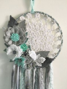 Grey aqua baby dreamcatcher by wiltedrosewreaths on Etsy