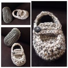 """Crochet baby """"Grown-ups"""" moccasins...just like Mommy & Daddy!"""
