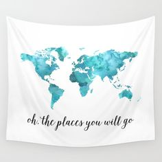 oh the places you will go, map, map art, watercolor, watercolor map, quote, quote print, quote art