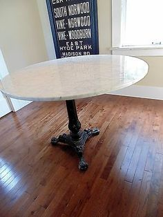 """Vintage Round Marble Dining Table Large Size 38"""" Seats 4 French Bistro 