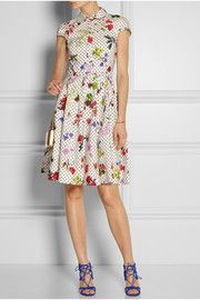 Oscar de la RentaFloral and dot-print cotton shirt dress
