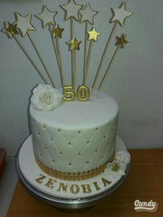 50th gold and white cake