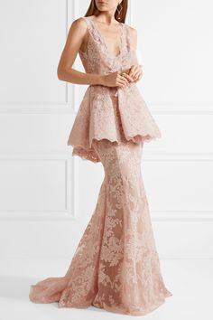 Marchesa | Tulle-paneled guipure lace peplum gown | NET-A-PORTER.COM