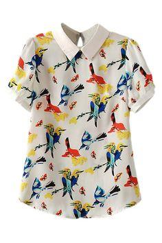 ROMWE | ROMWE Bird Print Asymmetric Lapel Contrast Trimming Blouse, The Latest Street Fashion