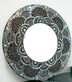 Mosaic of the mirrored dragon Mirror Mosaic, Mosaic Diy, Mosaic Crafts, Mirror Art, Mosaic Projects, Mosaic Glass, Mosaic Tiles, Mosaics, Mirror Glass