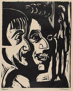 Ernst Ludwig Kirchner  Zwei Köpfe. – Portrait Hans Rohner und Lotte Kraft