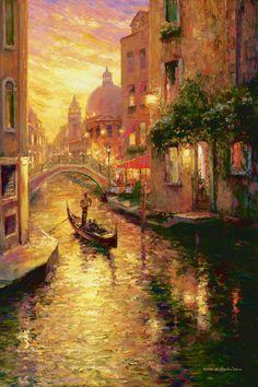 Góndola en la puesta del sol, Venecia, Haixia Liu