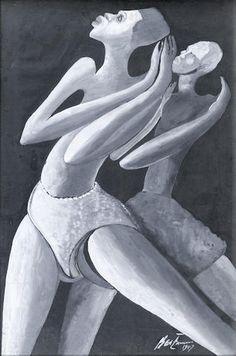 Benedict Chukwukadibia Enwonwu, M.B.E (Nigerian, 1917-1994), Ben Enwonwu, Dancers in the Sun, 1947 Dancers in the sun 19 11/16 x 13in (50 x 33cm)