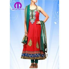Red coloured party Wear Anarkali suit