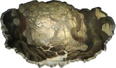 """This fantastical mural, based on the movie """"Lord of the Rings"""", was painted on a teen's bedroom wall."""