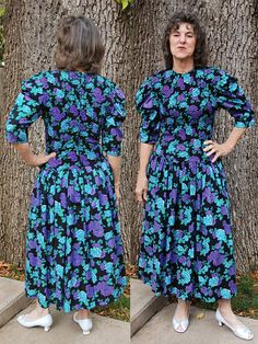 Vintage cotton 80s dress smocked bodice size 8 by YustaWas on Etsy, $28.00