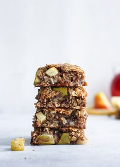 Vegan Apple Cinnamon Oatmeal Cookie Bars [gluten-free]. The best healthier fall treat!