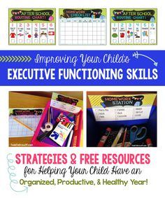 Improving Your Child's Executive Functioning Skills at Home. FREE After School Routine Charts, Homework Planner/Checklist & Homework Station Label