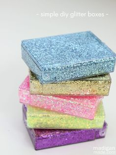 Upcycled Glitter Storage Boxes - A little glitter goes a long way with this recycle craft.