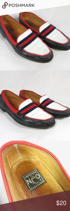 """Vintage Leather Loafers Patriotic July Fourth Shoe Patriotic red, white and blue, vintage, leather slip on loafers.  Italian.  Marked Italy.  Neo Classique Brand.  Almost completely made of leather.  Red and blue strap across top is woven fabric and soles have some man made material.  But leather insole and uppers.  Perfect shoe to show your Fourth of July or American spirit.  Marked on bottom 41 1/2.  (11.5 US).  Measures 11.25"""" long and 3.5"""" across the sole.  Good vintage condition.  A bit…"""