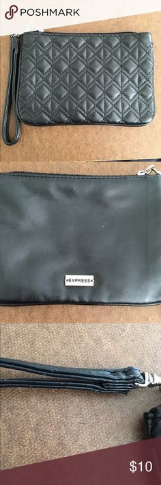 Express black small wristlet One pocket wristlet. Measuring 5 x 7.25 inches. Has been worn a couple of times. The strap has some wear on it as pictured. Also the back has a couple of nicks as pictured. Still has lots of life to it. Price reflects the small flaws. ⭐️don't forget to bundle Express Bags Clutches & Wristlets