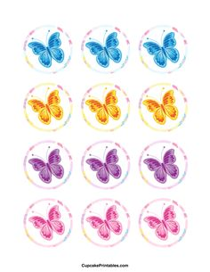 Use the circles for cupcakes, party favor tags, and… Butterfly Garden Party, Butterfly Birthday Party, Printable Stickers, Free Printable, Happy Birthday Tag, Cupcake Toppers Free, Butterfly Cupcakes, Bottle Cap Images, Bottle Caps