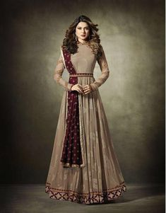 Handcrafted Stand Collar Bridal Floor Length Semi Stitched Suit