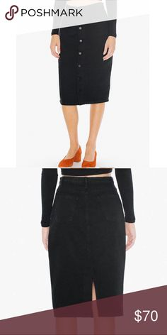 American apparel midi black jeans skirt Front button. Condition- like new! American Apparel Skirts Midi