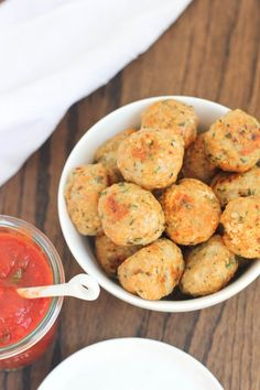<3...Chicken Parmesan Meatballs -  1 lb. ground chicken, 1/2c panko bread crumbs, 3/4c freshly grated parmesan cheese, 2 cloves minced garlic, 1T each fresh chopped basil and tomato paste, 2t. fresh chopped oregano, 1t each fresh chopped parsley & red pepper flakes, 1/2t each salt & pepper.  Bake @ 375 about 20 min.