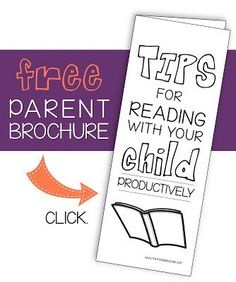Free parent brochure for reading with students at home.  Perfect to hand out at back to school night!