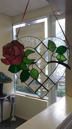 "USE BEVELS TO MAKE HEART, THEN ADD 1/2 CIRCLES.  Valentine Rose Window Suncatcher, Heart Shaped, Large, Unique & Beautiful!  10"" L  and 11"" W"