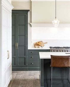 We love how this stylish kitchen came together. Our in-frame shaker cabinetry is painted in studio green by and finished… We love how this stylish kitchen came together. Our in-frame shaker cabinetry is painted in studio green by and finished… Stylish Kitchen, New Kitchen, Kitchen Dining, Kitchen Decor, Kitchen Ideas, Shaker Kitchen, Country Kitchen, Kitchen Themes, Kitchen Modern