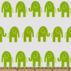Tissu ameublement blanc et vert avec des elephants design américain : Tissus Ameublement par les-bricoles-de-m-martine