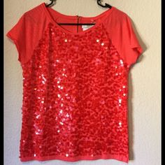 BLING.  Wow - gorgeous and it makes a statement! Shimmers in the light with a cute zipper in the back. LOFT Tops