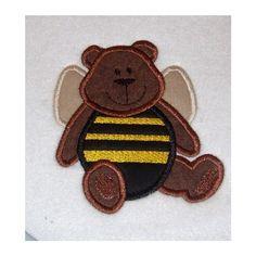 Honey Bee Bear Embroidery Machine Applique Design by JakkisDesigns, $4.99