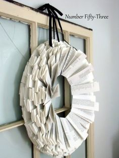 Number Fifty-Three: Simple Book Page Wreath