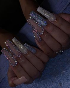 Installation of acrylic or gel nails - My Nails Bling Acrylic Nails, Drip Nails, Aycrlic Nails, Best Acrylic Nails, Glam Nails, Bling Nails, Cute Nails, Pretty Nails, Pastel Nails