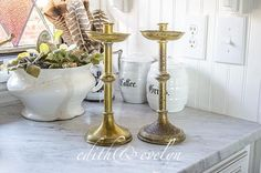 Vintage Pr Church Candlesticks, Brass, Very Timeworn by edithandevelyn on Etsy