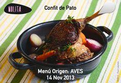 Confit de Pato Menú Origen Aves www.nolita.com.co