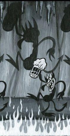 devil and brew Trippy Wallpaper, Mood Wallpaper, Retro Wallpaper, Dark Wallpaper, Tumblr Wallpaper, Aesthetic Iphone Wallpaper, Cartoon Wallpaper, Aesthetic Wallpapers, Vintage Cartoons