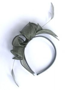 Silver Sinamay Headband with Feathers #silver #fascinator