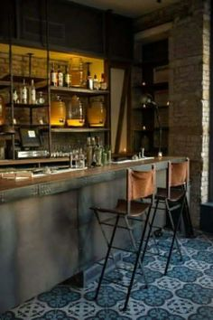 intersting jugs behind bar. Barraca, a Spanish Restaurant With Food by Jesus Nunez - Eater Inside - Eater NY Restaurant Design, Deco Restaurant, Restaurant Tables, Cafe Bar, Industrial House, Industrial Style, Vintage Industrial, Industrial Bars, Design Industrial