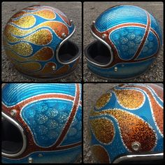 Each helmet sent to us is painted one at a time by hand and is replaced with custom trim (black or chrome) and also has a high quality mirr. Retro Motorcycle Helmets, Motorcycle Tank, Women Motorcycle, Biker Accessories, Custom Paint Motorcycle, Candy Paint, Helmet Paint, Custom Helmets, Custom Paint Jobs