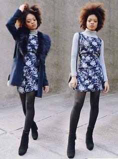 Alicia Nicholls - Primark Faux Fur Collar Coat, Vintage Floral ...