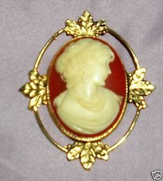 Antique Large Edwardian Carved Shell Cameo Maiden Pin Pendant Gold Washed Halo