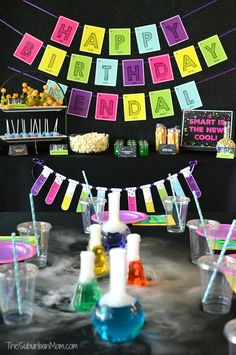 Celebrate your scientist with these science birthday party ideas decorations, food, actives, experiments, free printables, favors and more.