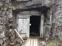 """sixpenceee: """" """"Written on the entrance to an abandoned mine shaft in Gällivare, Sweden."""" Posted by Youtubejinn """""""