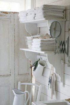 Shabby Chic Floating Shelves for Bathroom Storage.